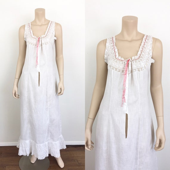 Vintage 1930s COTTON & LACE White Boho Nightgown /