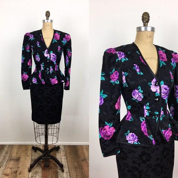 80s Vintage ROSE Print SILK AJ Bari Skirt / Jacket
