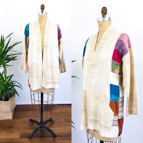 Vintage 1980s SOUTHWESTERN Style PATCHWORK Raw Sil