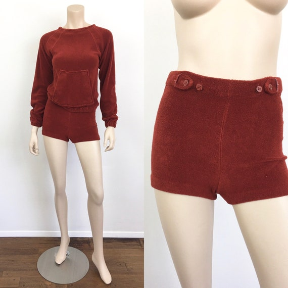 Vintage 1970s TERRY CLOTH Sweatshirt & SHORTS / Ho