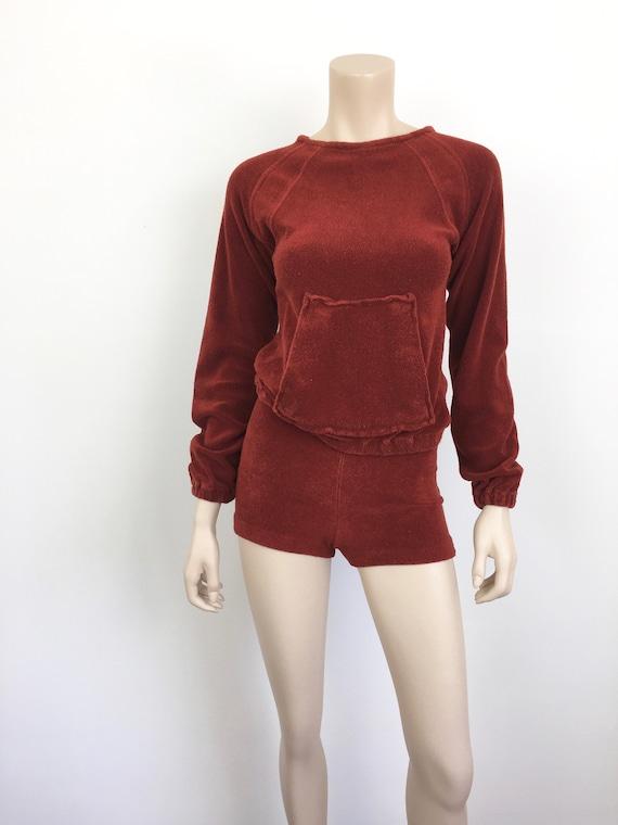 Vintage 1970s TERRY CLOTH Sweatshirt & SHORTS / H… - image 3