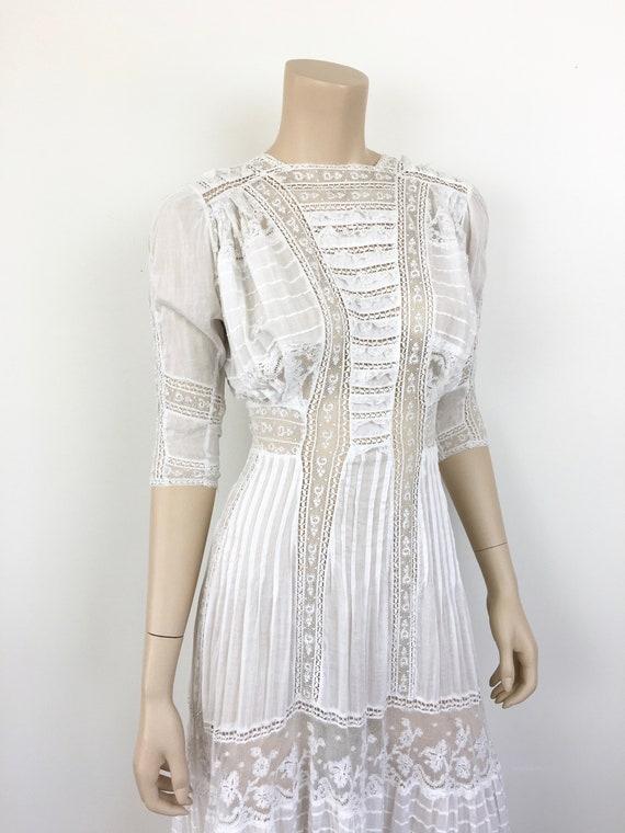 Antique EDWARDIAN White COTTON & LACE Lawn Dress - image 7