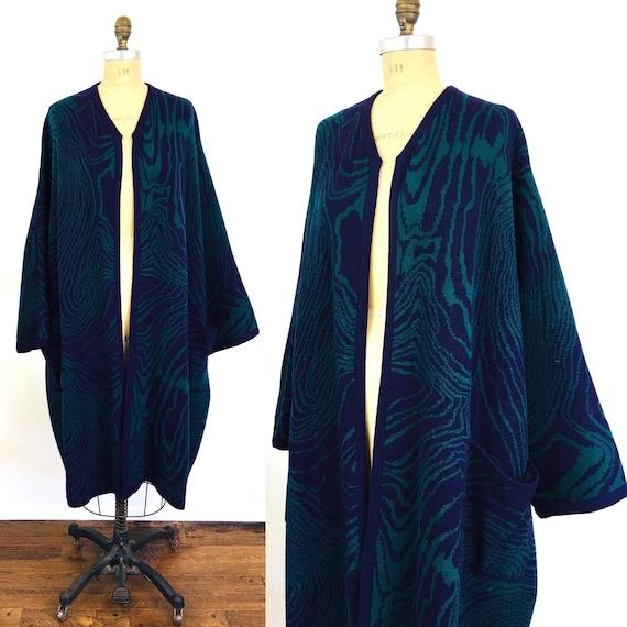 1980s Vintage WOOD GRAIN Oversized COCOON Sweater