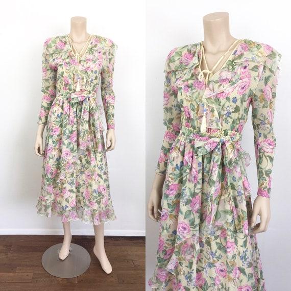 80s Vintage DIANE FREIS Yellow FLORAL Ruffle Dress
