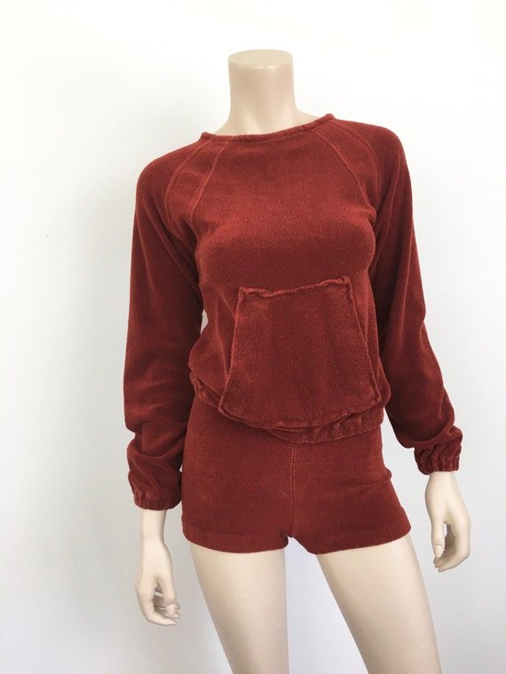 Vintage 1970s TERRY CLOTH Sweatshirt & SHORTS / H… - image 4