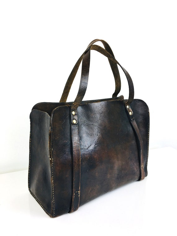 Vintage 1930s ANTIQUE LEATHER Bag