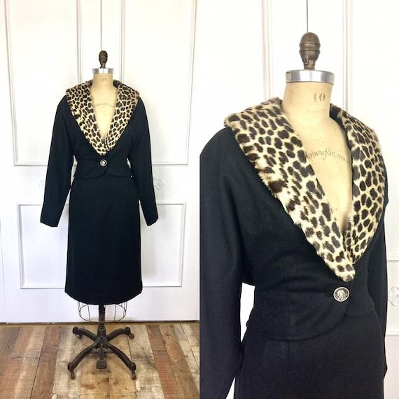 1950s Vintage LEOPARD Collar BETTY ROSE Black Skir