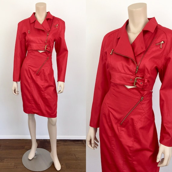 Vintage 1980s RED CROPPED MOTO Jacket & High Waist
