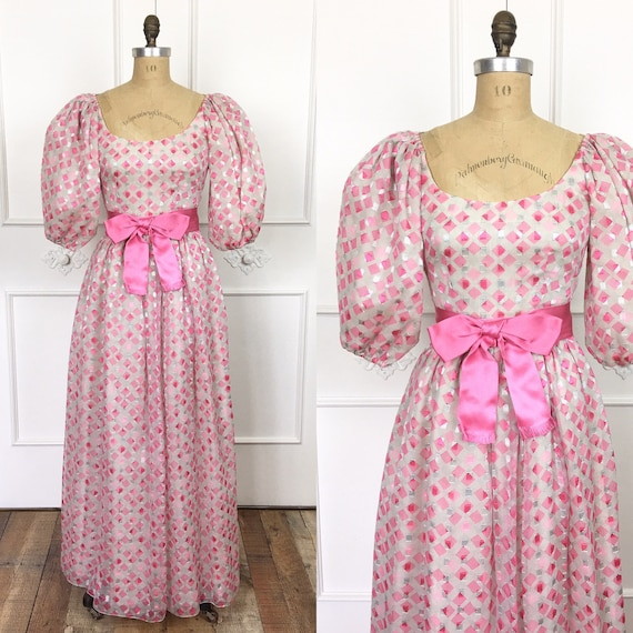70s Vintage PUFF SLEEVE Pink Bow Boho Maxi Dress 1