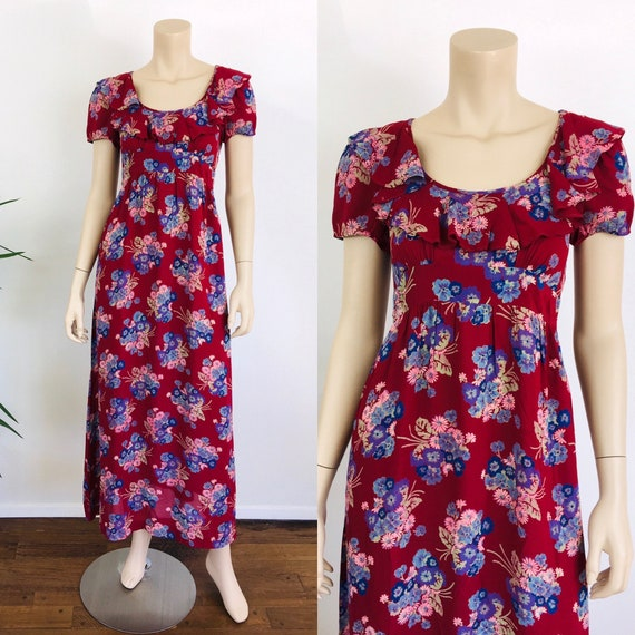 Vintage 1970s Does 30s FLORAL Print RUFFLED BABYDO