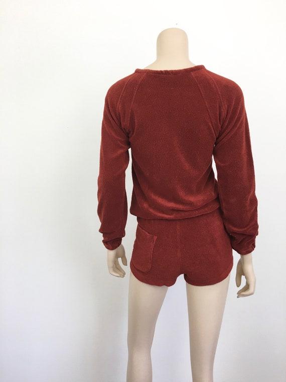 Vintage 1970s TERRY CLOTH Sweatshirt & SHORTS / H… - image 8