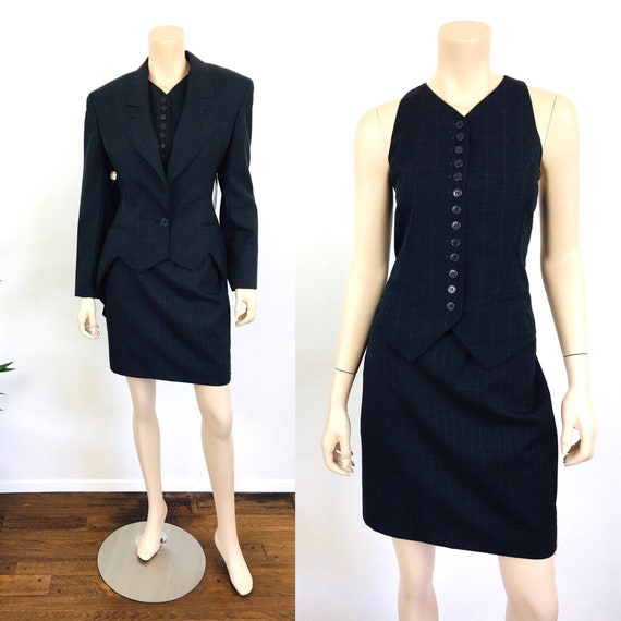Vintage NORMA KAMALI 3Pc PINSTRIPE Skirt Vest Jack