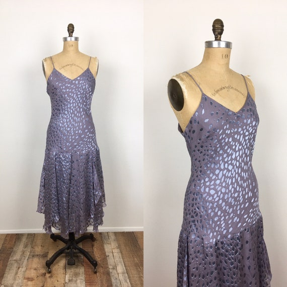 80s Vintage BIAS Cut BURNOUT SILK Fringe Skirt Fla