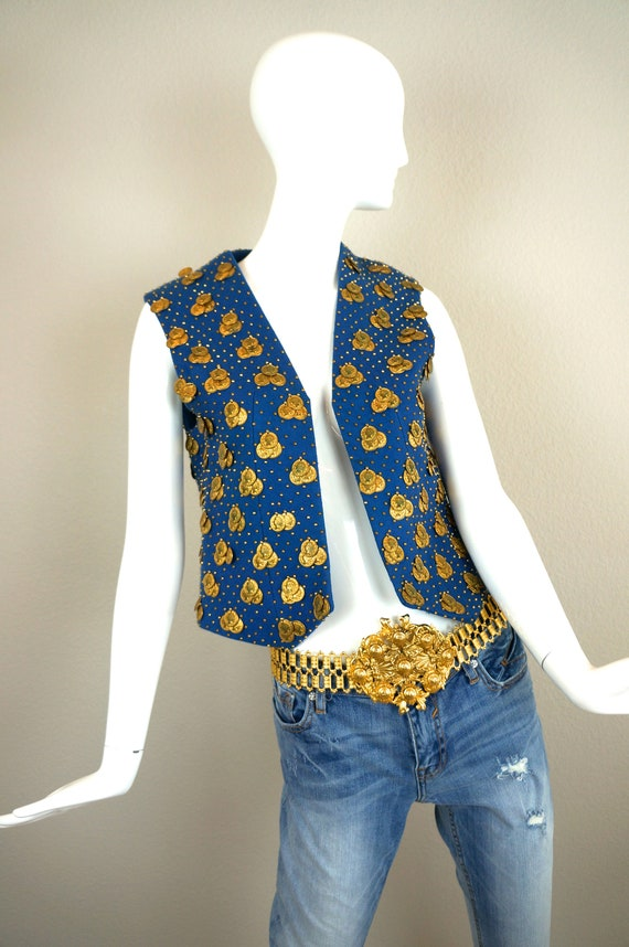 60s Vintage ADOLFO Blue GOLD COIN & Studded Felted