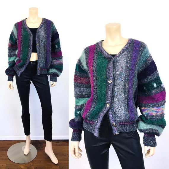 1980s Vintage ARTISAN Made MOHAIR Hand Knit CARDIG