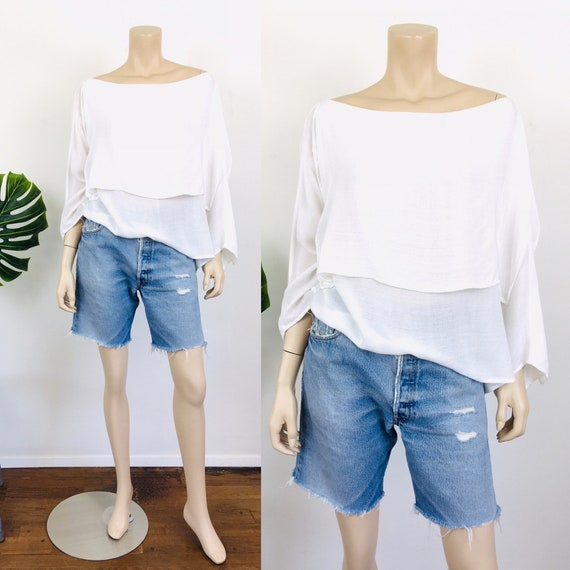 1980s Vintage LAISE ADZER Style White LAYERED Mor… - image 1