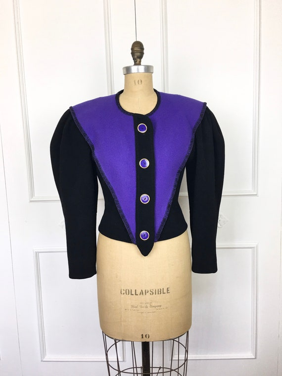 80s Vintage PUFF SLEEVE Black & Purple Jeanne Marc