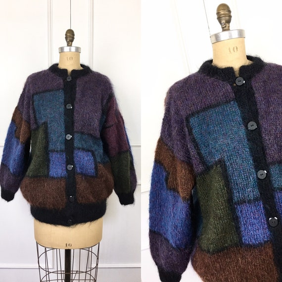 80s Vintage OVERSIZED COLOR BLOCK Mohair Cardigan