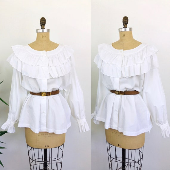 Vintage 1980s RUFFLED COLAR White Cotton Oversized