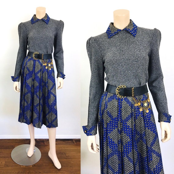 Vintage 1980s ADOLFO TOP & SKIRT Blue / Black Plai