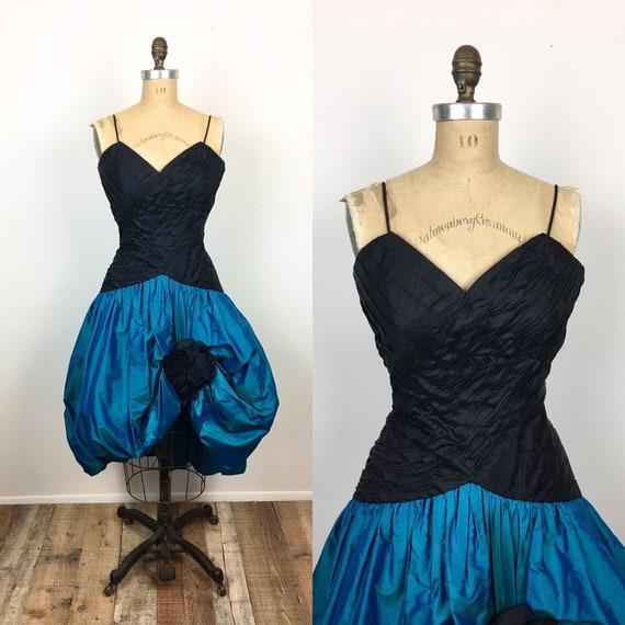 80s Vintage BALLOON POUF SKIRT Black & Turquoise R