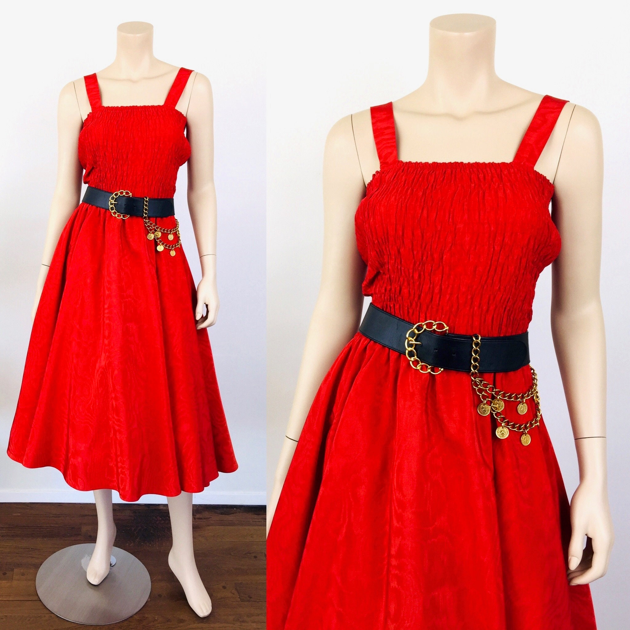 80s Dresses | Casual to Party Dresses Vintage 1980S Red Diane Freis Smocked Moire Taffeta Party Dress $20.00 AT vintagedancer.com