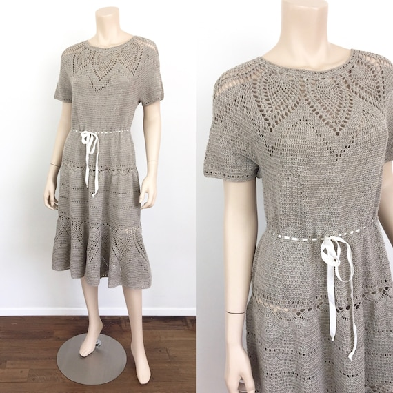 Vintage 1940s CROCHET KNIT Hippie / Boho Dress