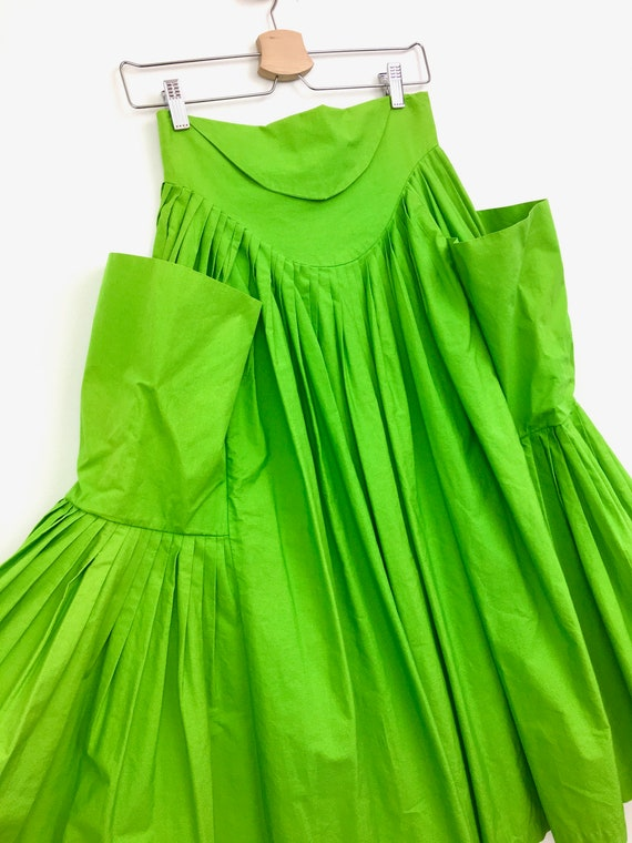 80s Vintage NORMA KAMALI Green Super PLEATED Super