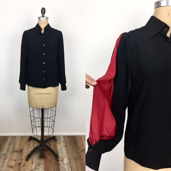 80s Vintage GIANFRANCO FERRE Balloon Sleeve Black