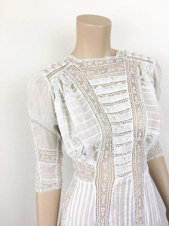 Antique EDWARDIAN White COTTON & LACE Lawn Dress - image 8