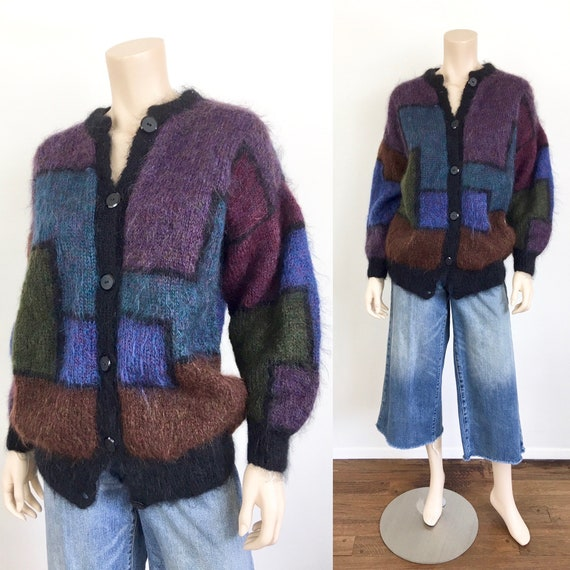 1980s Vintage OVERSIZED COLOR BLOCK Mohair Cardiga