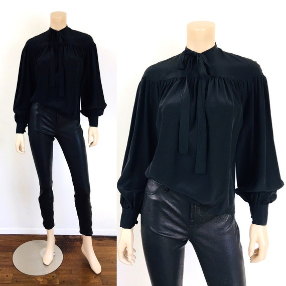 Vintage 1970s PUSSY BOW Black Pleated BALLOON Slee