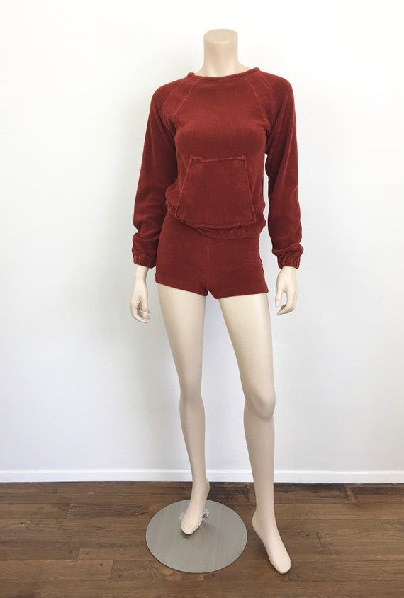 Vintage 1970s TERRY CLOTH Sweatshirt & SHORTS / H… - image 2