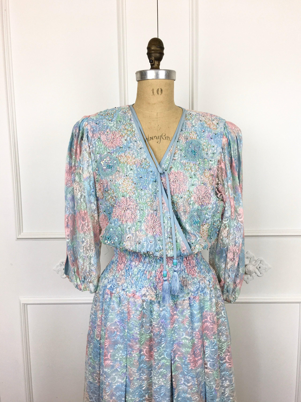 80s Dresses | Casual to Party Dresses 80S Vintage Beaded Pastel Lace Diane Freis Bohemian Dress $8.00 AT vintagedancer.com