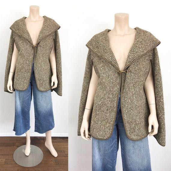 1960s Vintage BONNIE CASHIN Tweed & Leather CAPE C