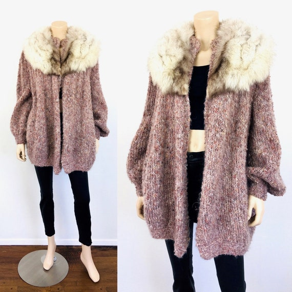 Vintage 1980s PINK BOUCLE Knit & FOX Fur Collar Ov