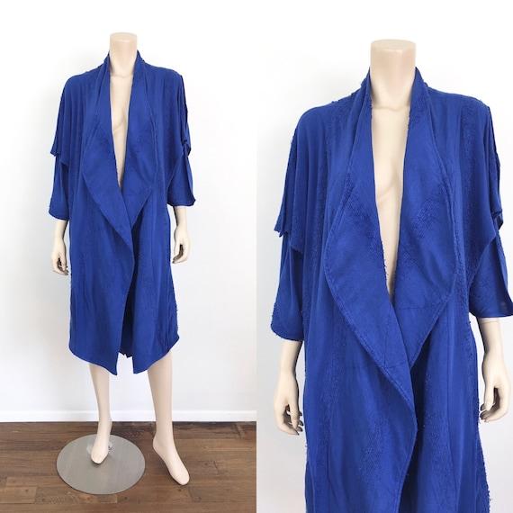 Vintage 1980s LAISE ADZER Style INDIGO Blue Draped