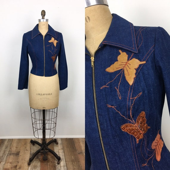 1970s Vintage SNAKESKIN BUTTERFLY Applique EMBROID
