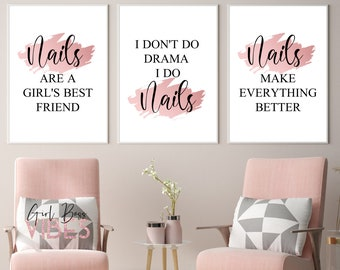 Blush Rose Pink Nail Studio Decor, Nail Salon Art, 3pc Printable Wall Decor, Nail Salon Décor, Nail Wall Art, Nail Print, Nail Artist Decor
