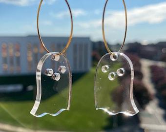 Halloween Ghost Boo! Earrings - Clear Acrylic