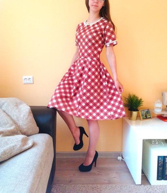 Handmade Unique Vintage Dress, Earth Tone, Brown &