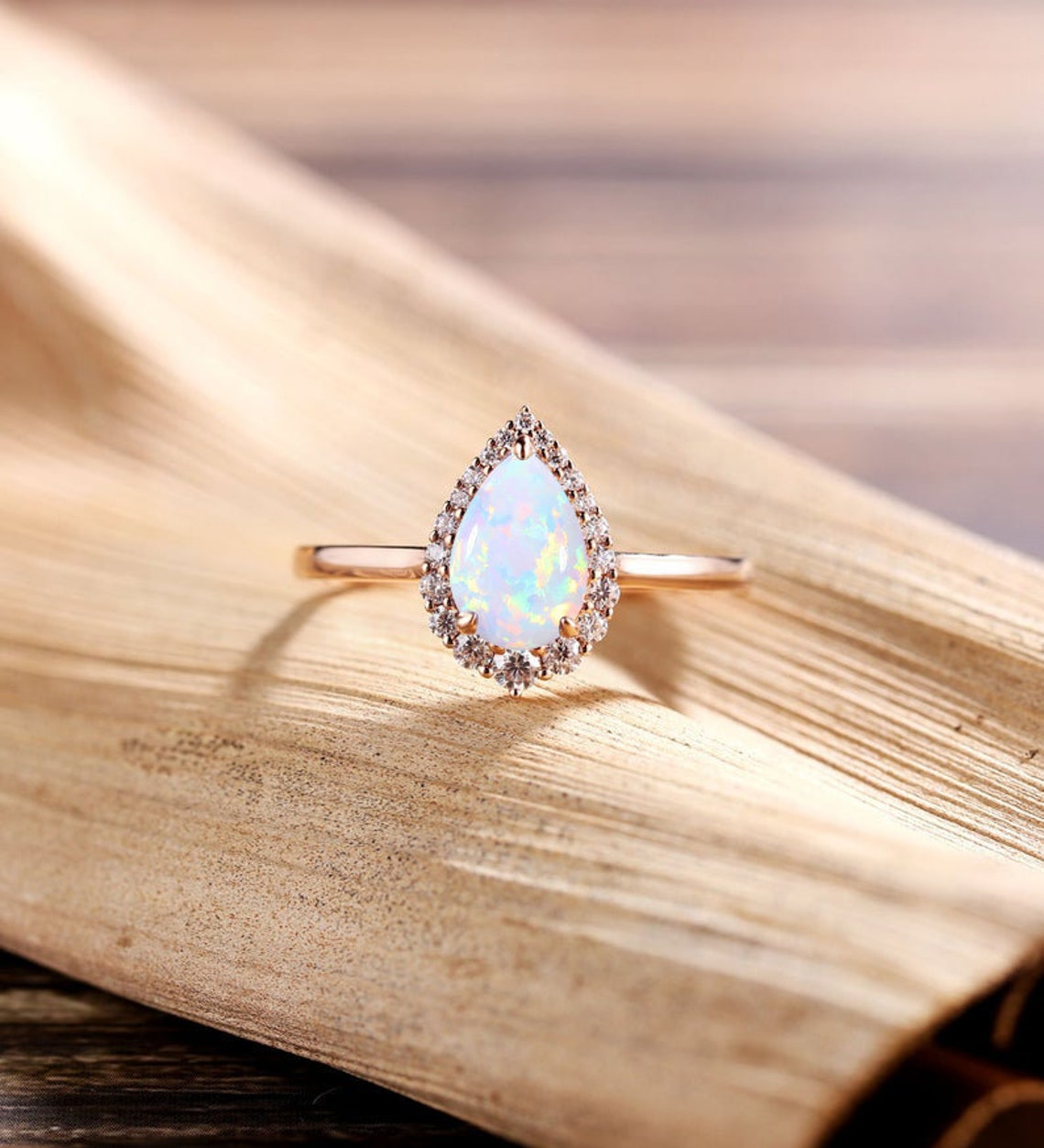 Vintage Opal Engagement Ring art deco wedding ring unique image 0