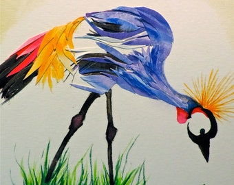 Crane in Grass Watercolor Collage Framed Original
