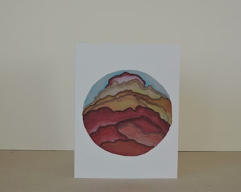 Pink Peaks Abstract Landscape A2 Greeting Card