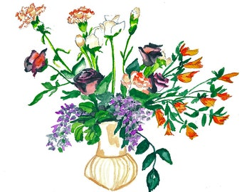 Carnations Bouquet Watercolor Print