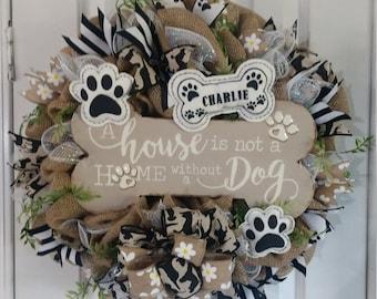 Everyday Dog Wreath Peace Love Dogs Wreath Black and Tan Wreath