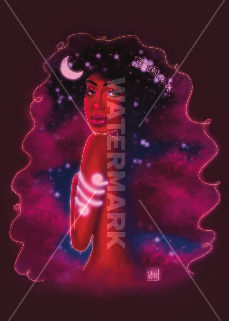 Melanin Art Night Sky Wall Art Dorm Room Decor Black Girl Magic Black Woman Illustration Letter Sized Art Print
