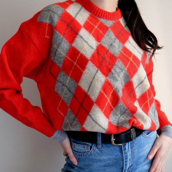 Vintage Wool Oversized Red Plaid Sweater  / Cozy W