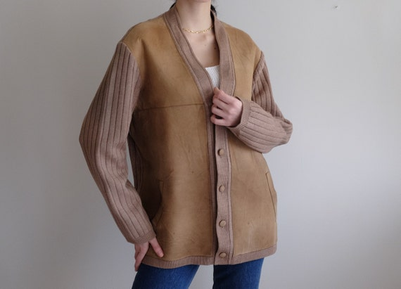 Vintage Genuine Leather Suede and Wool Camel Rare