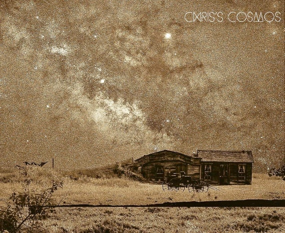 Black and white Milky Way over sod house